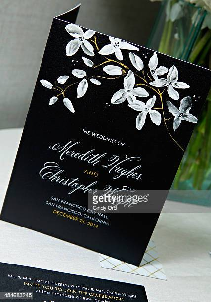 Marchesa gown inspired 'Night Blooms' bridal stationery on display as Wedding Paper Divas with Marchesa unveil their new bridal stationery collection...