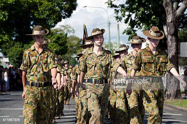 marching australian soldier cadets anzac day - anzac soldier stock pictures, royalty-free photos & images