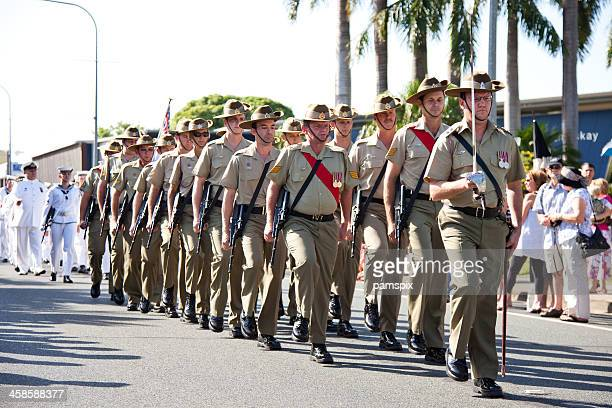Marching Australian Soldiers on Anzac Day