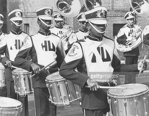 Marching band at Howard University during parade Washington DC Original Caption Reads ' The Howard University Marching Band Drummers Give The Best To...