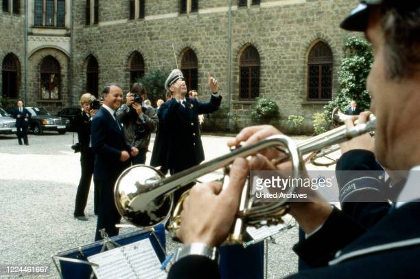 Marching band at the wedding of heir to the throne Ernst August von Hanover with Chantal Hochuli at Marienburg castle near Hanover Germany 1981