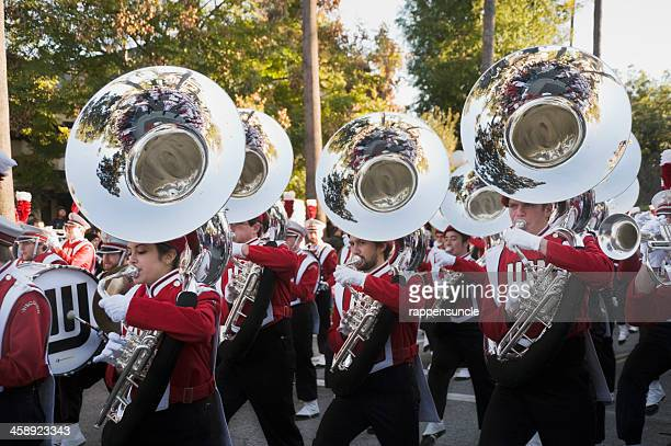 marching band brass section - marching band stock pictures, royalty-free photos & images