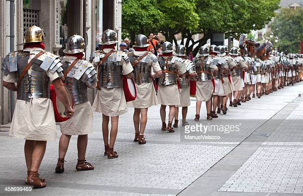 Marching band dressed in Roman style