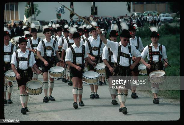Marching Band Dressed in Traditional Bavarian Clothing