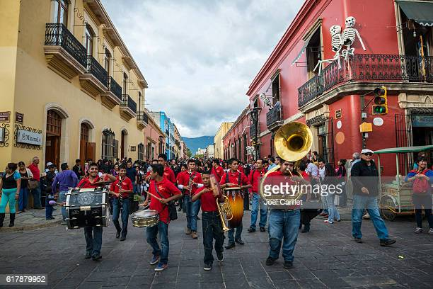 marching band in oaxaca, mexico - oaxaca stock pictures, royalty-free photos & images