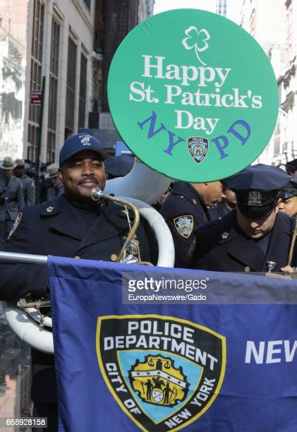 Marching Band member during the 256th annual St Patricks Day Parade on Fifth Avenue in New York City March 17 2017 The parade honors the patron saint...