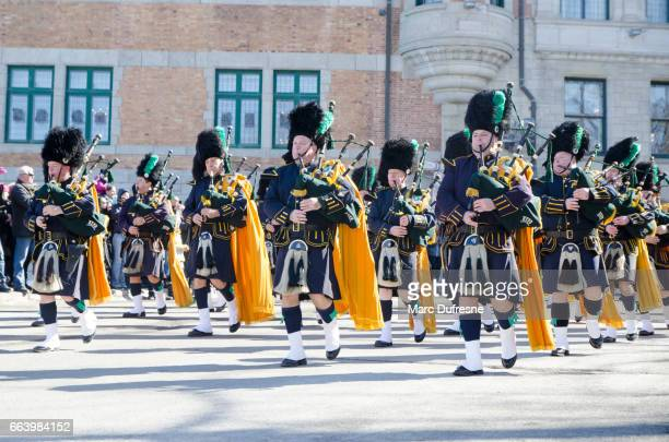 Marching Band of the New York Police Department with Bagpipes at the Quebec St-Patrick's Parade