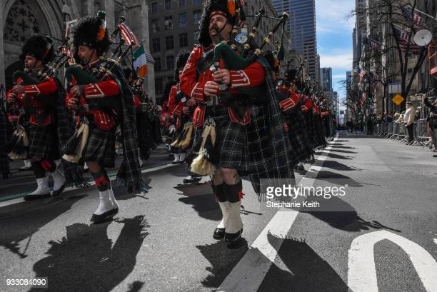 A marching band participates in the annual St Patrick's Day parade along 5th Ave on March 17 2018 in New York City New York's Saint Patrick's Day...