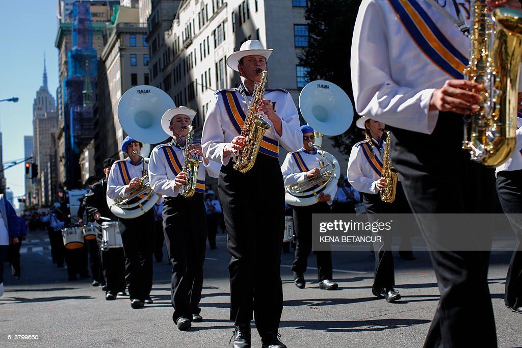 A marching band performs at the annual Columbus Day parade in New York on October 10, 2016. / AFP / KENA