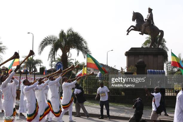 A marching band performs during an event to mark the 122nd Anniversary of Ethiopia's Battle of Adwa at King II Menelik Square in Addis Ababa on March...