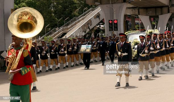 A marching band play during a funeral cortege for Engineer Simegnew Bekele the project manager for a hydroelectric dam since its construction began...