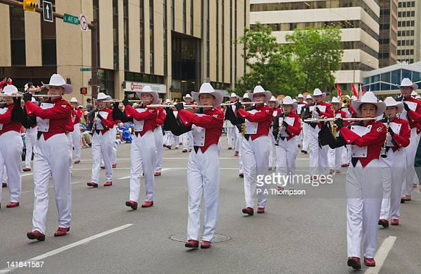 Marching Band playing musical instruments, Calgary Stampede Parade, Alberta, Canada