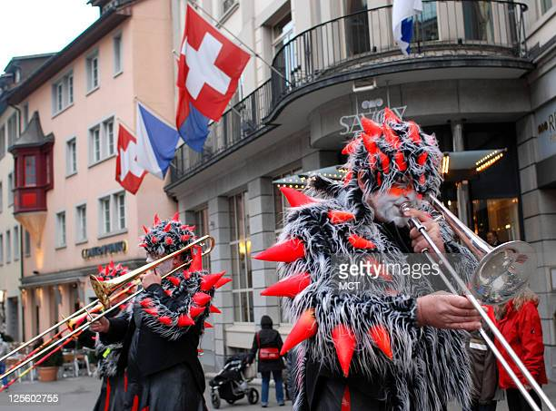 A marching band plays during the annual Fasching parade in Zurich Switzerland Fasching is the Swiss version of Mardi Gras in New Orleans