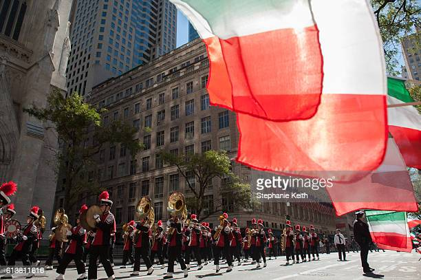 A marching band plays in the annual Columbus Day Parade on October 10 2016 in New York City This is the 72nd Columbus Day Parade held in New York City