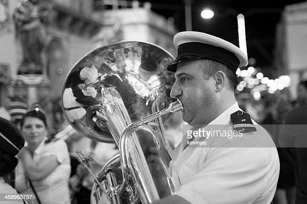 marching band tuba player - maltese islands stock photos and pictures