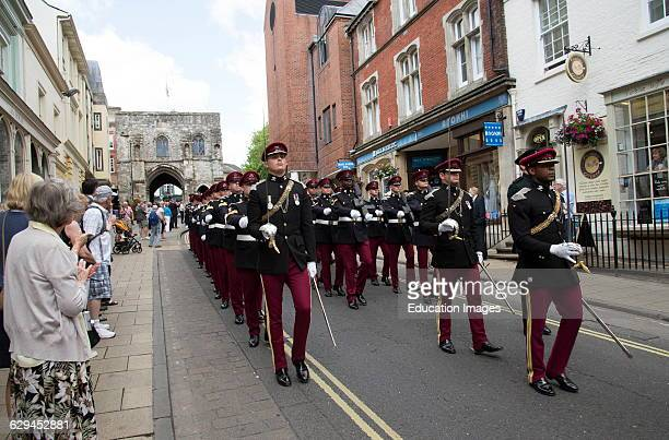 Marching officers and men Kings Royal Hussars during the Freedom of Entry parade in Winchester England The event celebrates 300th anniversary of the...