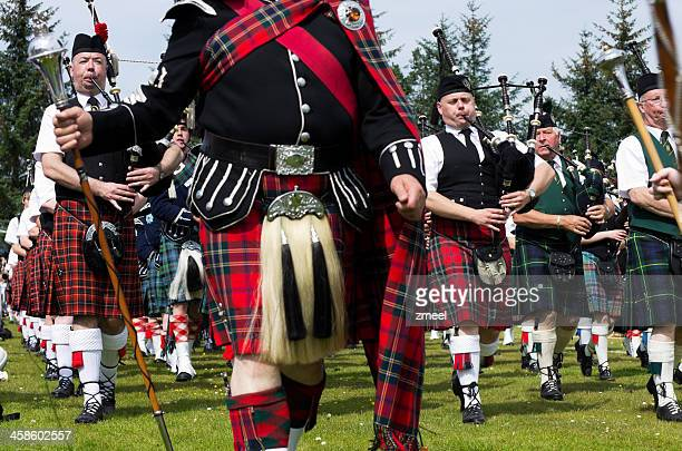 Marching pipe band at Highland Games