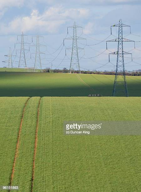 marching pylons - saffron walden stock photos and pictures