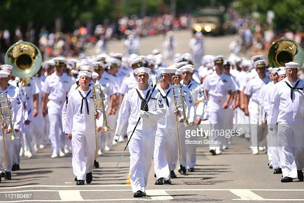 Marching sailors create a sea of white during the Bunker Hill Day Parade Bunker Hill Day parade on Sunday June 10 2007