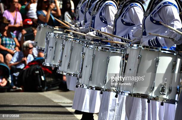 Marching Snare Drums in a Row on Parade