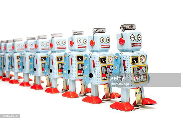 Marching tin toy robots