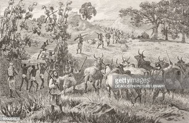 Marching towards Patiko Uganda engraving from the English edition of Ismailia A narrative of the expedition to Central Africa for the suppression of...