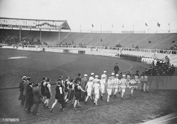 A marchpast at the opening ceremony during the 1908 Summer Olympics at White City Stadium in London 27th April 1908