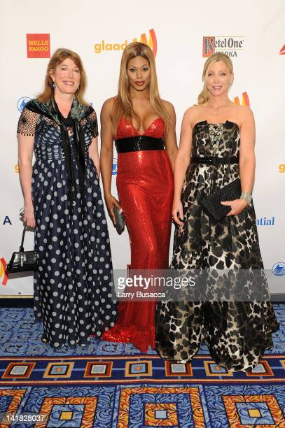 Marci Bowers Laverne Cox and Christine McGinn attend the 23rd Annual GLAAD Media Awards presented by Ketel One and Wells Fargo at Marriott Marquis...