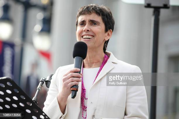 Marci Glazer CEO of the Jewish Community Center of San Francisco speaks onstage at the Women's March San Francisco in Civic Center Plaza on January...