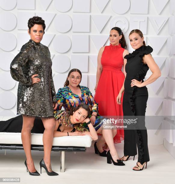 Marci Ien Jessica Allen Cynthia Loyst and Melissa Grelo pose at the CTV Upfronts portrait studio held at the Sony Centre For Performing Arts on June...