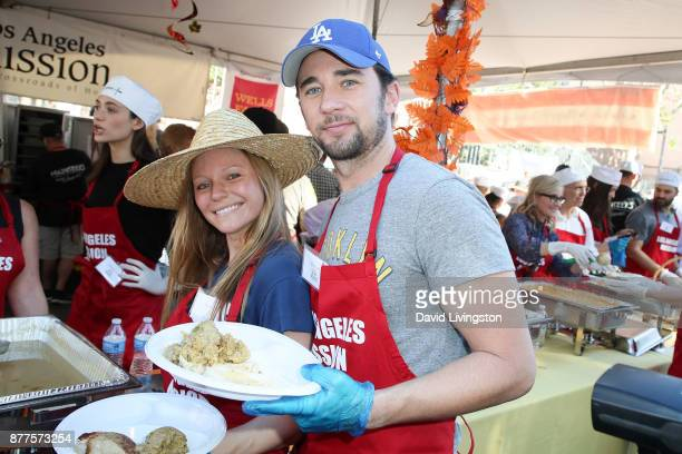 Marci Miller and Billy Flynn are seen at the Los Angeles Mission Thanksgiving Meal for the homeless at the Los Angeles Mission on November 22 2017 in...