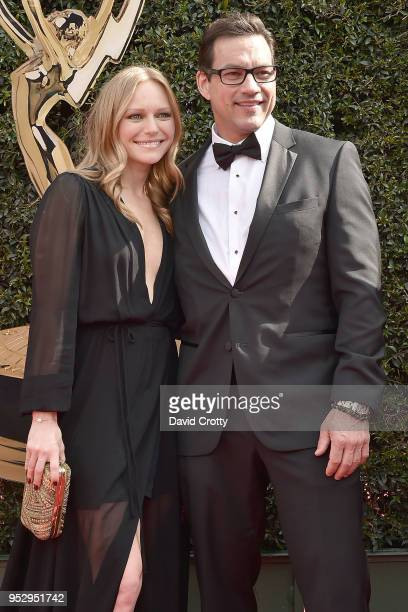 Marci Miller and Tyler Chirstopher attend the 2018 Daytime Emmy Awards Arrivals at Pasadena Civic Auditorium on April 29 2018 in Pasadena California
