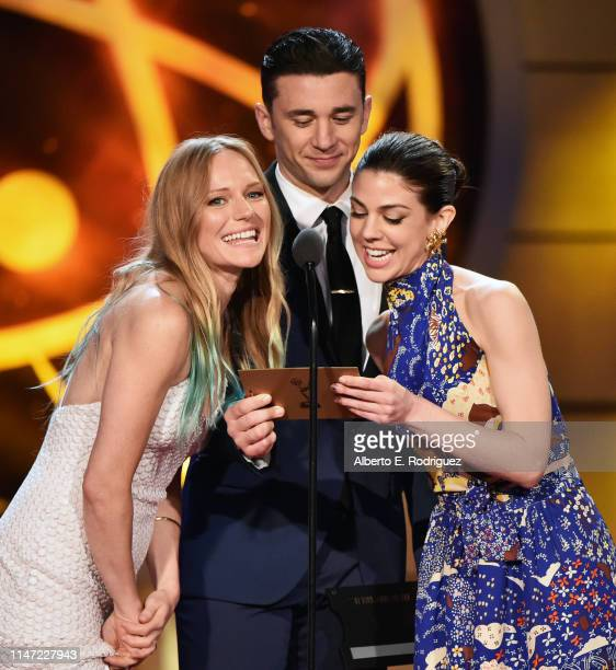 Marci Miller Billy Flynn and Kate Mansi speak onstage at the 46th annual Daytime Emmy Awards at Pasadena Civic Center on May 05 2019 in Pasadena...