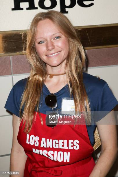 Marci Miller is seen at the Los Angeles Mission Thanksgiving Meal for the homeless at the Los Angeles Mission on November 22 2017 in Los Angeles...