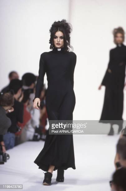 Marcia au défilé John Galliano Prêt-à-Porter, collection Printemps/été 92 à Paris en octobre 1991, France.