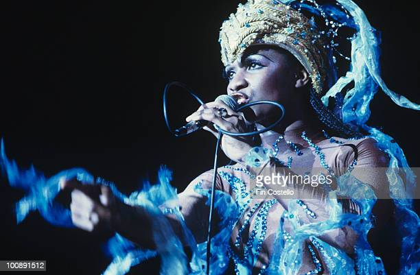 Marcia Barrett of Boney M performs on stage in September 1979