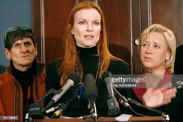 Marcia Cross actress from ABC's Desperate Housewives addresses a news conference to raise awareness of the Breast Cancer Patient Protection Act with...