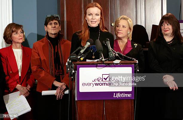 Marcia Cross actress from ABC's Desperate Housewives delivers comments during a news conference with Dr Kristen Zarfos Rep Rosa DeLauro Sen Mary...
