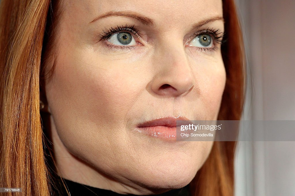 Marcia Cross, actress from ABC's 'Desperate Housewives,' participates in a news conference to raise awareness of the Breast Cancer Patient Protection Act on Capitol Hill January 23, 2008 in Washington, DC. Representing the Lifetime television network, Cross delivered 20 million signatures collected online that urge Congress to pass legislation to stop 'drive-through' mastectomies. Cross and other celebrities have joined Lifetime's 'Every Woman Counts' initiative to encourage women to vote, run for office and raise awarness of breast cancer.