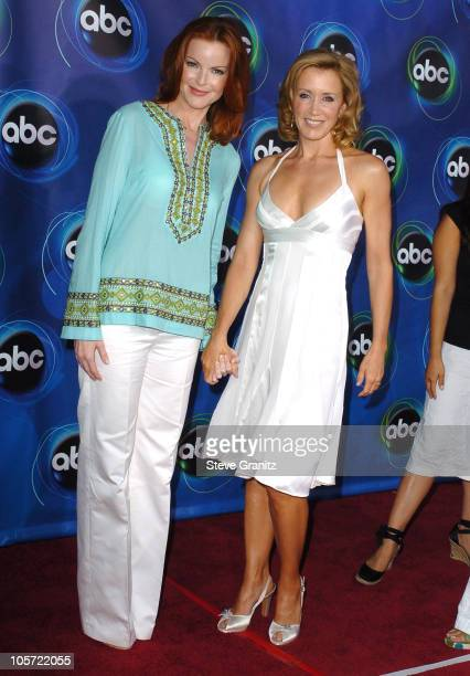 Marcia Cross and Felicity Huffman during ABC 2005 Summer Press Tour AllStar Party Arrivals at The Abby in West Hollywood California United States