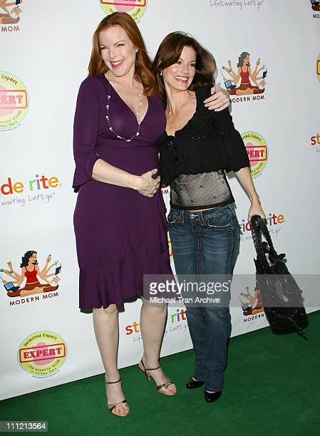 Marcia Cross and Laura Leighton during 'Modern Mom Mingle' Party Arrivals at Skybar at Mondrian in West Hollywood California United States