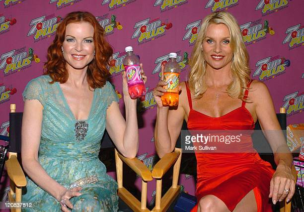 Marcia Cross and Nicollette Sheridan during Marcia Cross and Nicollette Sheridan CoHost a Premiere Party for Their New 7 UP Plus Commercial Pink...