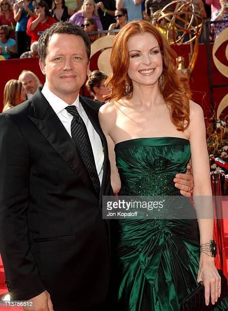 Marcia Cross and Steven Culp during 57th Annual Primetime Emmy Awards Arrivals at The Shrine in Los Angeles California United States