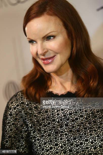 Marcia Cross is seen backstage ahead of the Marc Cain show during the MercedesBenz Fashion Week Spring/Summer 2015 at Erika Hess Eisstadion on July...