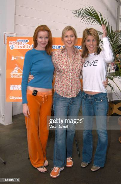 LR Marcia Cross Kelly Rutherford Lori Loughlin during Second Annual Step Up for Yoga Health Charity Festival at Bergamot Station in Santa Monica...