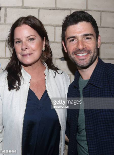 Marcia Gay Harden and Adam Kantor pose backstage at the hit 2018 Tony Winning Best Musical 'The Band's Visit' on Broadway at The Barrymore Theatre on...