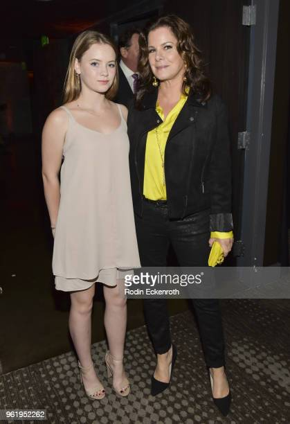 Marcia Gay Harden and Eulala Grace Scheel pose for portrait at the premiere of STX Films' 'Adrift' after party at Regal LA Live Stadium 14 on May 23...