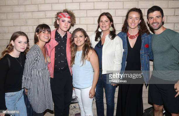 Marcia Gay Harden and family pose with Adam Kantor backstage at the hit 2018 Tony Winning Best Musical 'The Band's Visit' on Broadway at The...