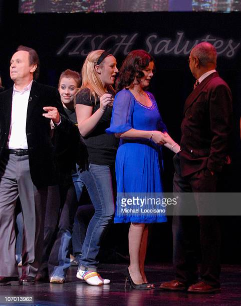 Marcia Gay Harden and George C Wolfe during Billy Crystal Hosts Tisch On Broadway Winter Benefit Gala Arrivals Curtain Call and After Party at St...