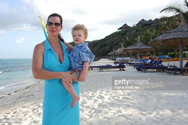 Marcia Gay Harden and Hudson Harden Scheel attend Raffles Resort Canouan Island Family Fun at Godahl Beach at Raffles Resort on April 1 2006 in...